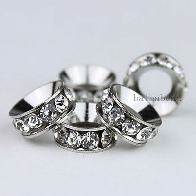 5X Clear Crystal Sliver Plated Loose Charms Findings Beads Big Hole To European