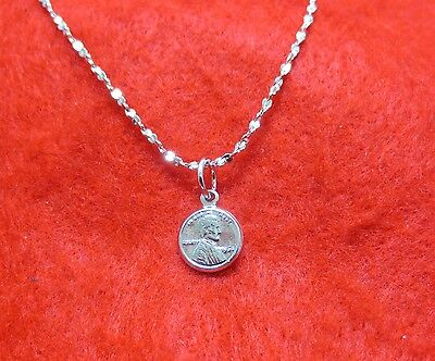 "14KT WHITE GOLD EP 18 INCH 1MM TWISTED NUGGET NECKLACE W/ A MINI ""LUCKY"" PENNY"