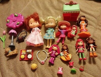 Strawberry Shortcake dolls and various accessories