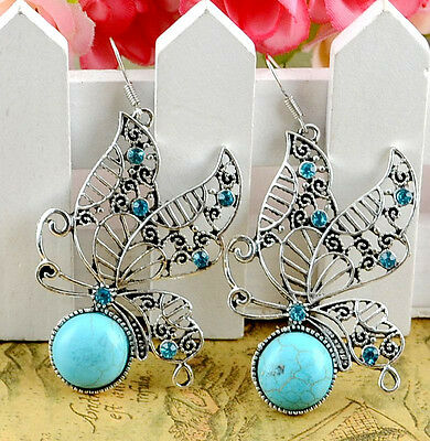 NEW 1Pairs Antique Silver Plated Assorted Dangle Turquoise Earrings  H-156