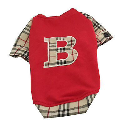 Good Small Pet Dog Clothes Apparel Plaids Red T Shirt Sweater S Chest:30cm/12""