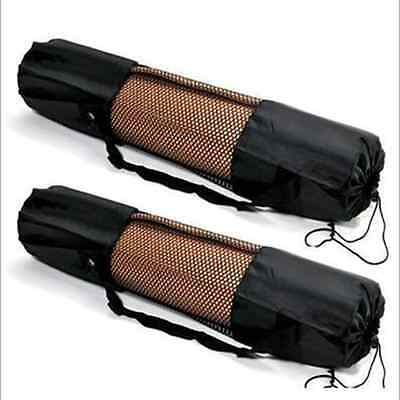 Portable Yoga Pilates Mat Nylon Bag Carrier Mesh Center Adjustable Strap