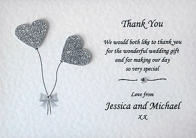 10 Handmade Personalised Wedding Thank You Cards - 30 Heart Colours!