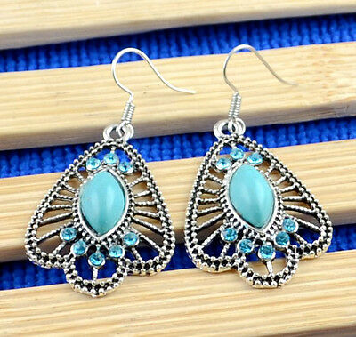 NEW 1Pairs Antique Silver Plated Assorted Dangle Turquoise Earrings  H-758