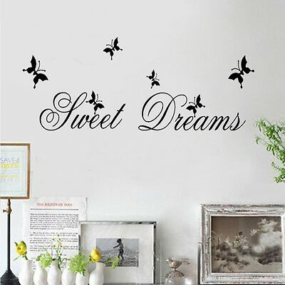 Sweet Dreams Butterfly Wall Quote Decals Sticker Removable Vinyl Home Decor ku1