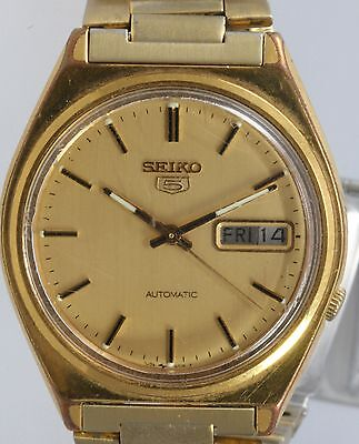 Vintage gold plated Seiko wristwatch.Automatic day date 7009-3140.On Seiko strap