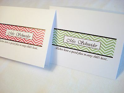 20 Personalized Chevron Thank You Note Cards Stationery & Envelopes Teacher Gift