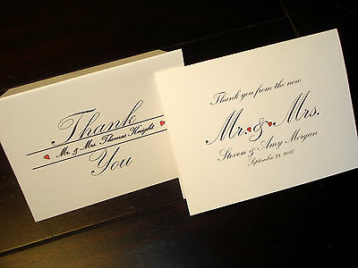 50 Personalized Note Cards Wedding Thank You Cards, Blank Inside Thank You Notes