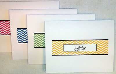 12 Personalized Chevron Thank You Note Cards Stationery Envelopes, Shower Gift