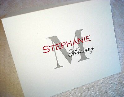 40 Personalized Custom Note Cards & Envelopes, Blank Inside Thank You Stationery
