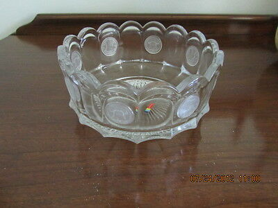 Vintage Fostoria COIN Crystal Clear ROUND SERVING fruit  BOWL