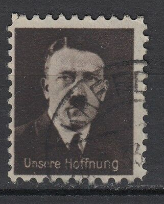 """Germany Third Reich Vignette Poster Stamp Nazi """"Hitler Unsere Hoffnung"""" VF Used"""