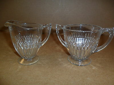 Jeannette ANNIVERSARY  Sugar and Creamer Clear Glass