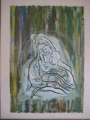 MINIATURE MOTHER AND CHILD IMPRESSIONIST MODERNIST OIL PAINTING SIGNED VTG OLD