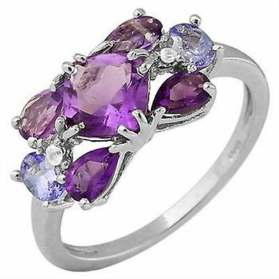 Genuine Amethyst and Tanzanite Ring sz.7 in 925 Sterling Silver