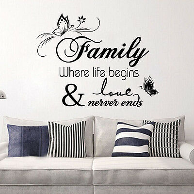 Family Where Life Begins Wall Quote Sticker Decals Vinyl Mural Room Decor xab
