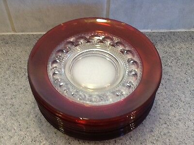 """9 - Vintage Ruby Stained Kings Crown 8 3/8""""Luncheon  Plates -"""