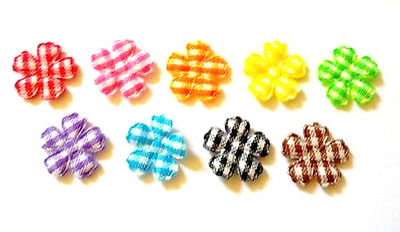 100 pcs  Tiny Small Gingham Flowers Padded Appliques Mix colors size 14 mm