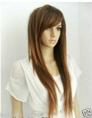 Hot Sell New Fashion Sexy Long Brown Straight Women's Lady's Hair Wig Wigs