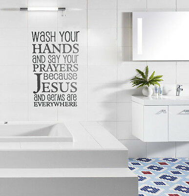 Wash Hand Bathroom Love Clean Letter Word Vinyl Decal Living Wall Quote Stickers