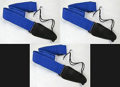 LOT of 3 ROYAL BLUE Cordura Guitar Strap NEW FREE SHIP Great Gift Item