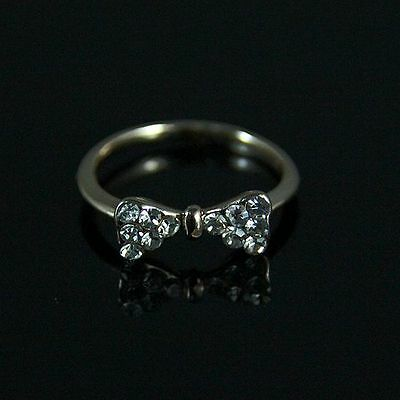 Lab-Created  Diamonds bowknot  18KT GOLD filled Ring  USA size 6.5