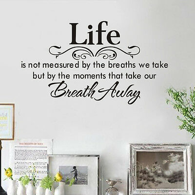 Life Breath Quote Lettering words Motto Poem Vinyl Wall Decals Sticker Decor