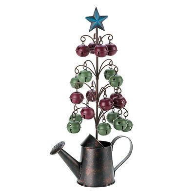 Christmas Tree Water Can Rustic Holiday Unique Tree with Jingle Bells Accent New