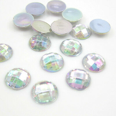 NEW DIY 40PCS 12MM Round flatback Scrapbooking for phone/wedding/crafts clear AB