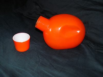MCKEE orange painted glass BEDSIDE WATER BOTTLE with cup RARE pinch bottle