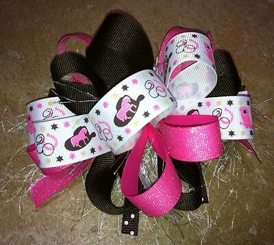 Cowgirl Hat Horse Boot Horseshoe Star Sparkle Boutique Hairbow Pink Tan Brown