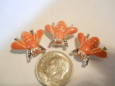 4 SILVER PLATED & ENAMEL BUZZING BEES 2 HOLE SLIDER SPACER BEADS BARS BRACELET