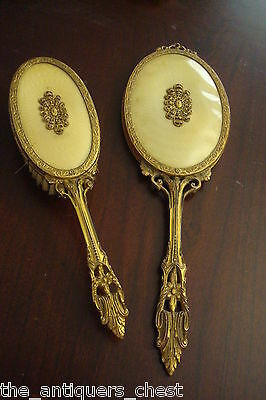 Antique vanity set mirror and brush, filigree in golden tone decoration[*small]