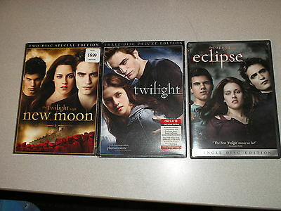 The Twilight Saga lot of 6 DVDs (3 titles) Twilight Eclipse New Moon