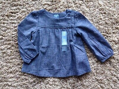 Baby Gap Toddler Girls Blue Chambray Long Sleeve Button Shirt Top NWT 18-24 Mon