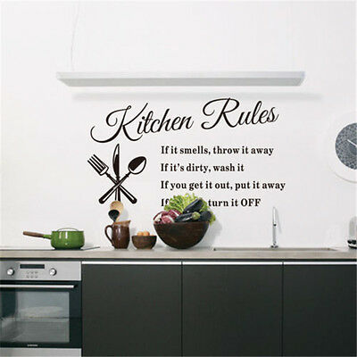 Kitchen Rules Removable Wall Sticker Vinyl Quote Mural Home Art Decal Decor