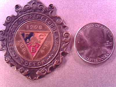 F.C.B. KNIGHTS OF PYTHIAS SUPREME LODGE  BADGE 1908 BOSTON