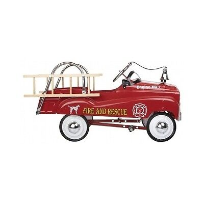 Fire Truck Pedal Car Vintage Ladder Red Engine Classic Toy Childs Nostalgic