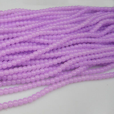 NEW 100pcs 4mm Ball purple Glass crystal Beads for Fit Bracelets Necklaces #07