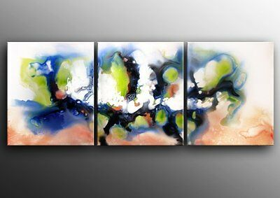 """Canvas Abstract Oil Painting - Ready to be hung 60x24""""H Original Art Deco"""