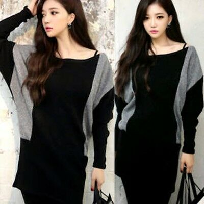 Loose Fit Color Blocking Boat Neck Pullover Women's Knitwear Knitted Top Stretch
