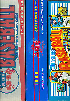 1989 1990 Donruss Fleer Score Baseball Complete FACTORY Box Set Card Collection