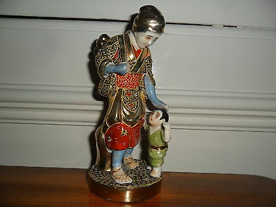 LOVELY VINTAGE JAPANESE PORCELAIN FIGURE WOMAN AND CHILD