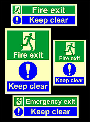 Photoluminescent Emergency / Fire Exit Keep Clear Signs All Sizes & Materials