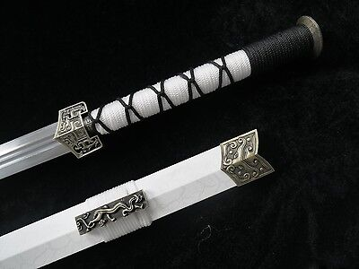 Han jian Medium carbon steel blade White leather paint scabbard Chinese sword