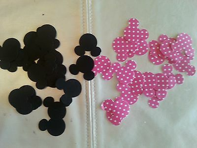 Confetti 100 Pack Black & Polka Dot Pink Mickey Minnie Mouse Head B- Party 1in