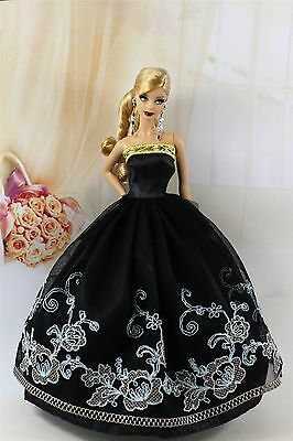 Black Fashion Party Dress/Wedding Clothes Gown For Barbie Doll S190P1