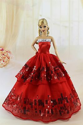 Red Fashion Party Sequin Dress/Evening Clothes/Gown For Barbie Doll S198P