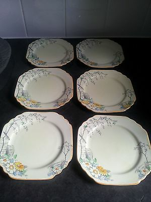 Foley China E Brain & Co 6 side plates of water wheel and daisy design