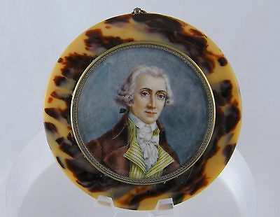 ANTIQUE  FRENCH MINIATURE PORTRAIT GENTLEMAN ? LAFAYETTE SHELL FRAME